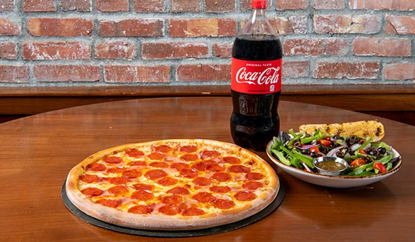 Large Two Topping Pizza, Hosue Salad & Soda