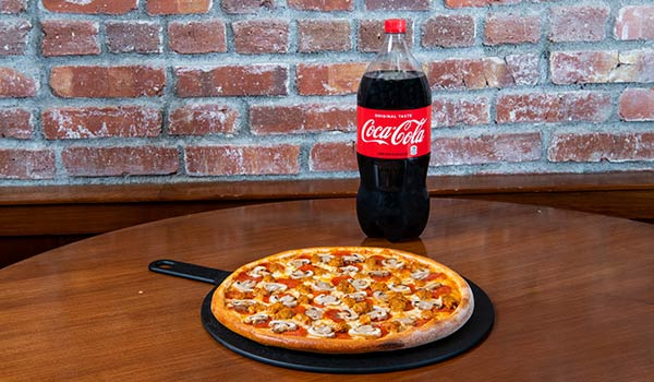 Medium Three Topping Pizza & Soda