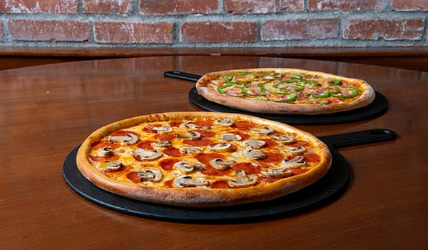 Two Medium Three Topping Pizzas